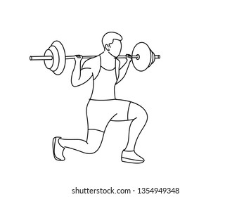 Strong bodybuilder sportsman lifting heavyweight barbell over his head, Flat Line Art Design.