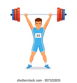 Strong bodybuilder sportsman lifting heavyweight barbell over his head. Weightlifting sport. Flat style vector illustration isolated on white background.
