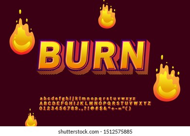 Strong bold 3D font effect with flame alphabet design highlight gradient color and shadow effect, for printing, modern letter design.