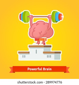 Strong brain lifting weary barbell takes first place on the winning pedestal. Flat style vector icon.