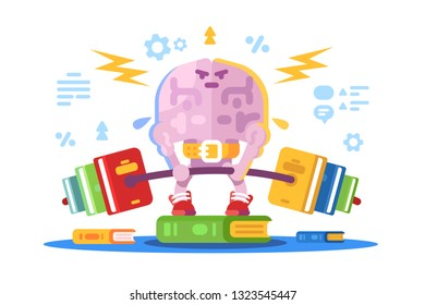 Strong brain lifting weight vector illustration. Training and exercise of intelligent flat comic style concept. Brains intelligence cleverness and brightness