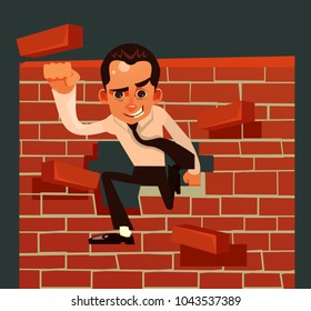 Strong brave businessman office worker character broke brick wall. Vector cartoon illustration