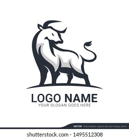 Strong bull standing. Bull logo design. Vector editable logo