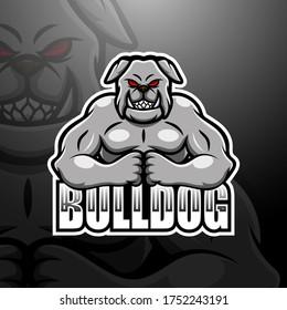 Strong bulldog mascot esport logo design
