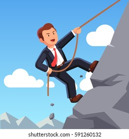Strong business man making effort, climbing mountain with rope and achieving his goals. Career development and professional growth concept. Flat style modern vector illustration.