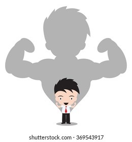 Strong Businessman in shadow on white background, vector illustration in flat design