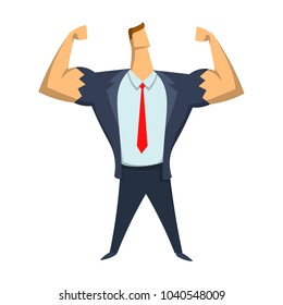 Strong businessman showing bicepses. Leadership, self-confidence. Concept vector illustration, isolated on white background.