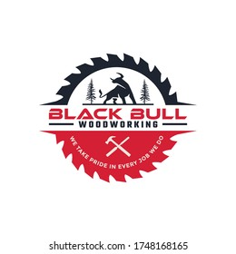 A strong carpenter's logo with a formidable black bull, woodworking logo, construction logo
