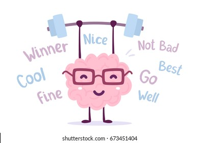 Strong cartoon brain concept. Vector illustration of pink color smile brain with glasses easy lifts weights on white background with tags. Doodle style. Flat style design of character brain for sport
