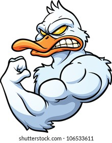 Strong cartoon duck mascot. Vector illustration with simple gradients. All in a single layer.