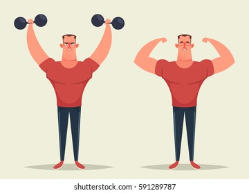 Strong Cartoon Man Exercising with Dumbbells and Showing His Muscles. Vector Illustration