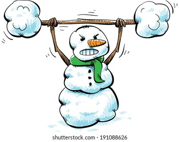 A strong, cartoon snowman working out with snow weights.