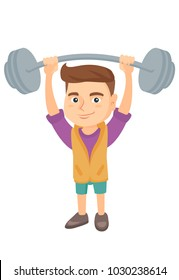 Strong caucasian child lifting a heavy weight barbell. Little boy in sportswear training with barbell. Happy boy holding a barbell. Vector sketch cartoon illustration isolated on white background.
