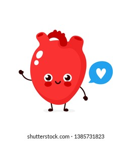 Strong cute healthy happy human heart organ character with speech bubble. Vector flat cartoon illustration icon design. Isolated on white background. Healthy human heart concept