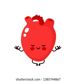 Strong cute healthy happy human heart organ meditate in lotus yoga pose. Vector flat cartoon illustration character icon design. Isolated on white background. Heart character concept