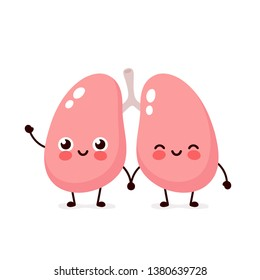 Strong cute healthy smiling happy lungs  character. Vector flat cartoon illustration icon design. Isolated on white background. Lungs character concept
