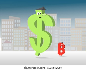 Strong dollar with cryptocurrencies - Elements is grouped and divided into layers.