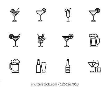 Strong drinks icons. Set of line icons on white background. Beer bottle, martini, margarita cocktail. Alcohol concept. Vector illustration can be used for topic like drinks, bar, menu