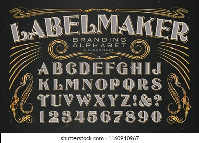 A strong and elegant alphabet with flourishes; excellent for creating high-end labeling