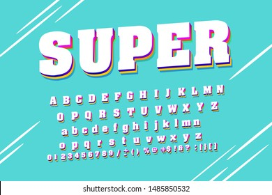 Strong font. Condensed display font popart design, alphabet, letters and numbers. Swatch color control