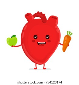 Strong funny healthy happy heart character with carrot and apple. Vector flat cartoon illustration icon design. Isolated on white backgound. Healthy heart nutrition concept