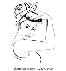 Strong girl in eyeglasses. Classical american symbol of female power, woman rights, protest, feminism. Vector   hand drawn woman in retro comic style. Black and white illustration. Tattoo.