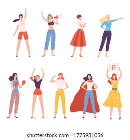 Strong Girls Set, Women Empowerment Movement, Gender Equality, Feminism, Freedom, Protest, Female Power and Rights Concept Flat Style Vector Illustration