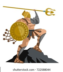 strong gladiator with trident and net