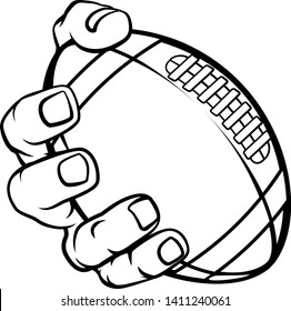 A strong hand holding an American football ball. Sports graphic