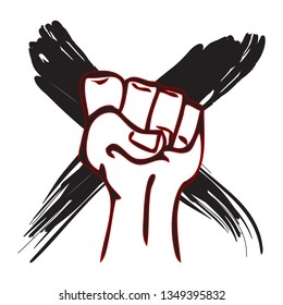 Strong hand raised in a fist with a black X mark behind for uprising or resistance concept