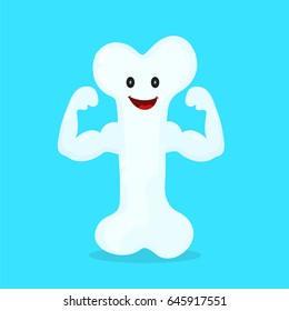 Strong happy healthy bone character. Vector flat cartoon illustration icon design. Isolated on blue background