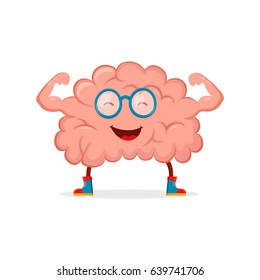 Strong happy healthy brain character. Vector flat cartoon illustration icon design. Isolated on white background
