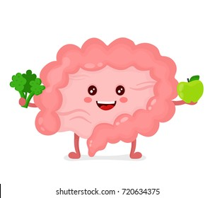 Strong healthy happy Intestine character with broccoli and apple. Vector flat cartoon illustration icon design. Isolated on white background. Digestive tract, Healthy food nutrition,Intestine  concept