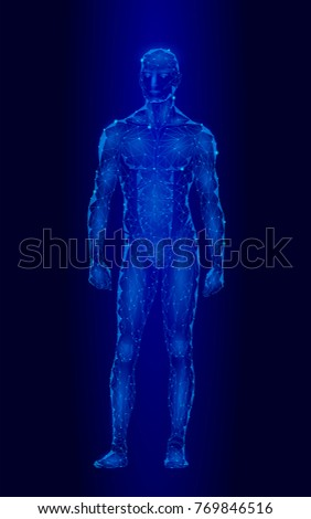 518a2408c047d Android robot humanoid optimal perfect man fitness sport shape. Polygonal  geometric point line particle blue glow vector illustration - Vector