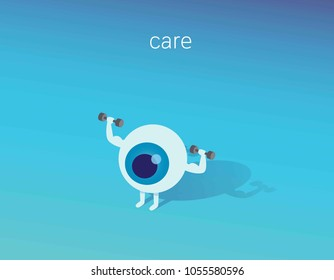 Strong healthy white eye, 3d isometric illustration icon.