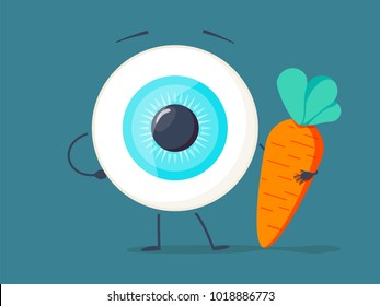 Strong healthy white eye, eyeball with a carrot character. Vector flat cartoon illustration icon design. Isolated on backgound. Human healthcare concept. Healthy nutrition for eyes