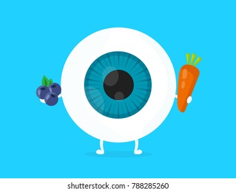 Strong healthy white eye, eyeball with carrot and blueberry plant character. Vector flat cartoon illustration icon design. Isolated on blue backgound. Nutrition for good vision concept