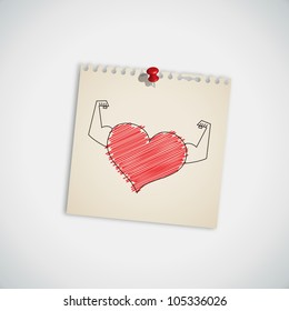 Strong Heart on Note Paper Vector