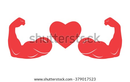Strong Heart Sign Muscle Arms ...