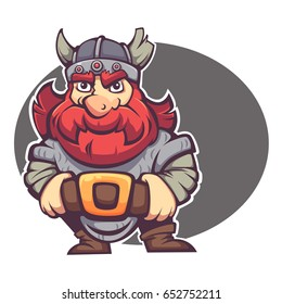 strong hero, vector image of fantasy dwarf or viking for your logo or mascot