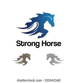 Strong Horse Running Fast Logo Illustration