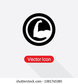 Strong Icon, Biceps Icon, Muscular Arm Icon Vector Illustration In Flat Style Eps10