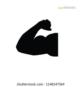 Strong icon.muscle sign. Vector illustration.