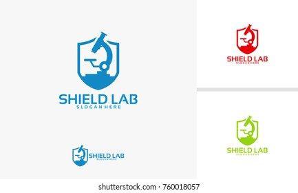 Strong Laboratory logo template, Shield laboratory logo designs vector