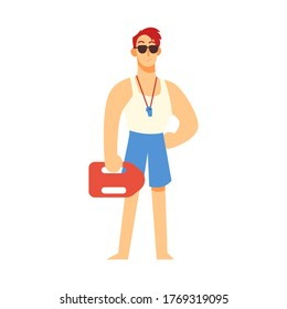 Strong lifeguard vector illustration. Professional rescuer at the beach. Character concept