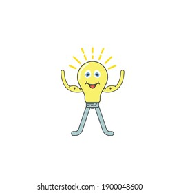 strong light bulb cartoon mascot icon vector illustration design template web