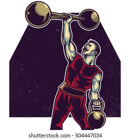 Strong macho man playing with barbell and kettle-bell weights. Vector illustration. Isolated artwork object. Suitable for and any print media need.