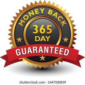 Strong, majestic, powerful, 365 day money back guaranteed badge, sign, seal, stamp, label with red ribbon isolated on white background.