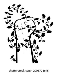 strong male hand of gardener has pulled out and is holding weed of climbing plant. Control of weeds, plants, parasites and pests. Black and white vector