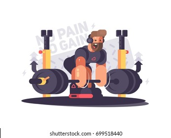Strong man athlete does deadlift in gym. Vector flat illustration